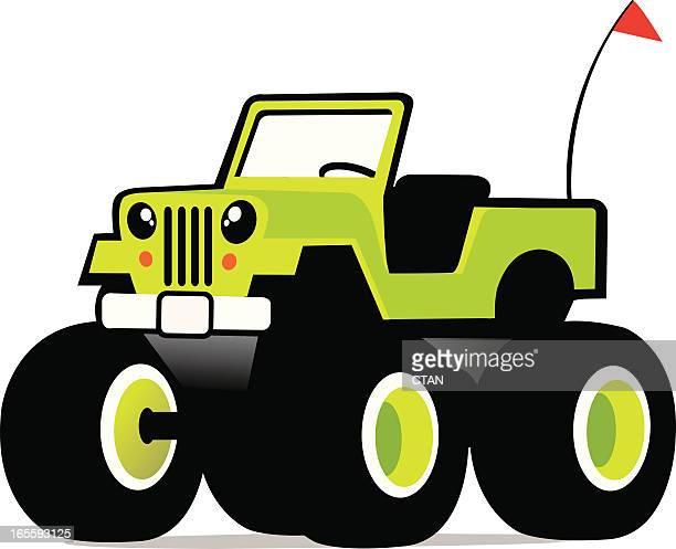 ilustraciones, imágenes clip art, dibujos animados e iconos de stock de linda monster truck - monstertruck