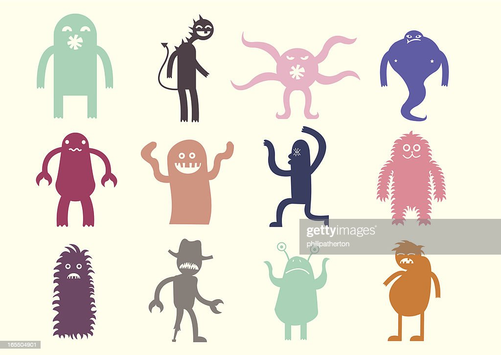 Cute monsters set 1 : stock illustration