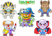 cute monsters, set of vector images