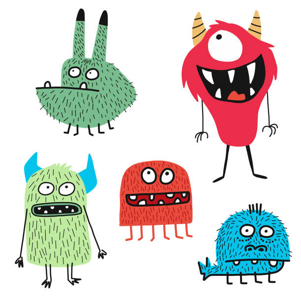 cute monsters - cartoon stock illustrations
