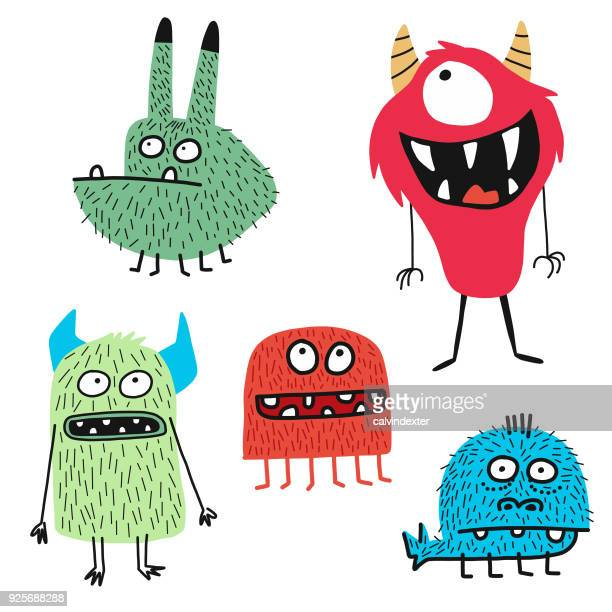 süße monsters - illustration stock-grafiken, -clipart, -cartoons und -symbole