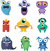 Cute monsters vector set in cartoon style