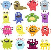 Cute monsters vector set.