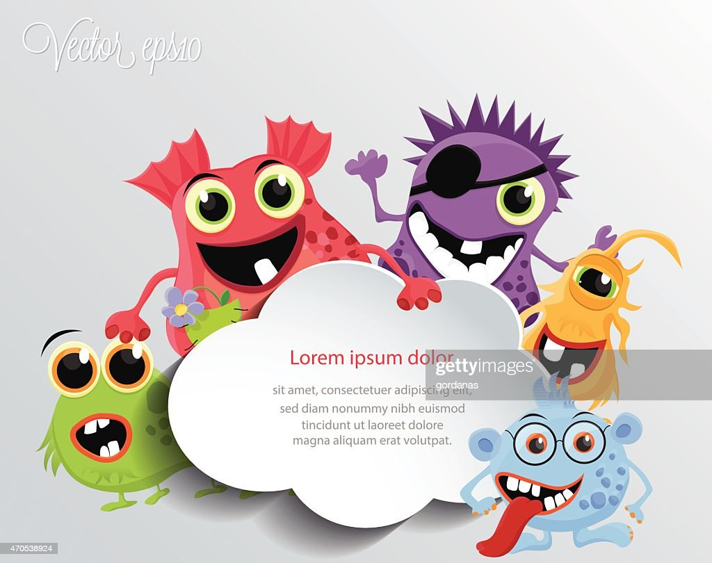 Cute monsters with a speech cloud.