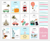Cute monthly calendar 2019 with beach,sea,van,Statue of Liberty,Taj Mahal for children.Can be used for web,banner,poster,label and printable