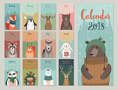 Cute monthly calendar with forest animals.