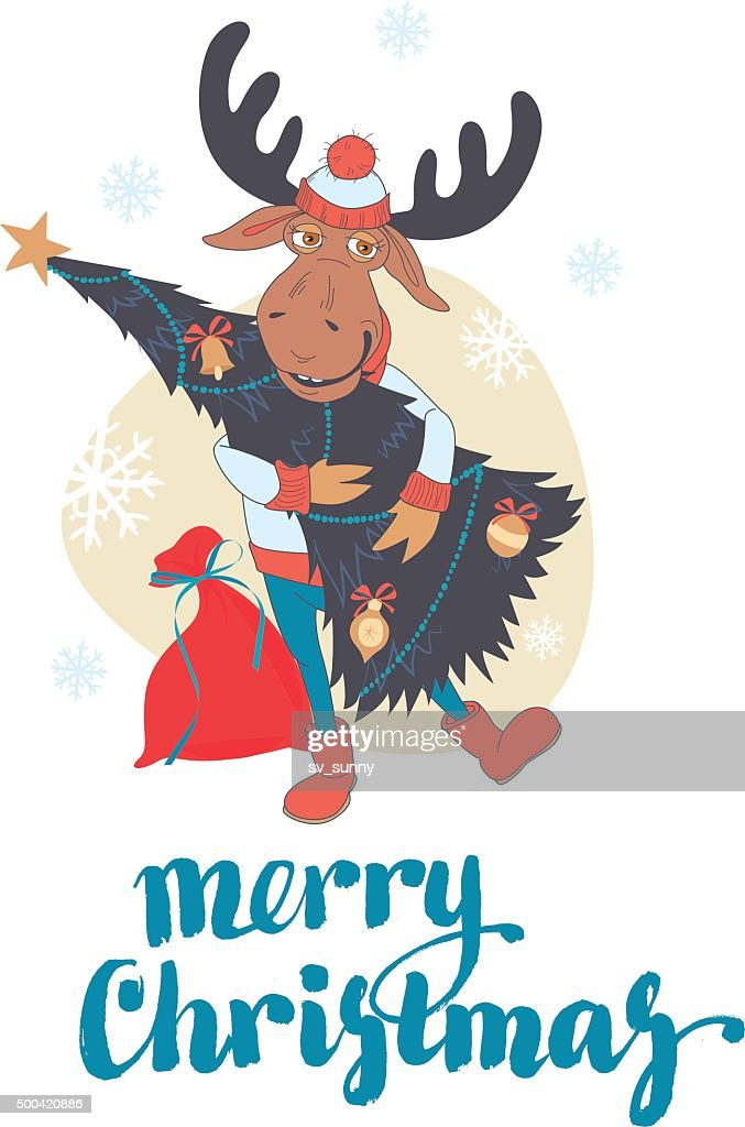 Cute moose carry decorated Christmas tree