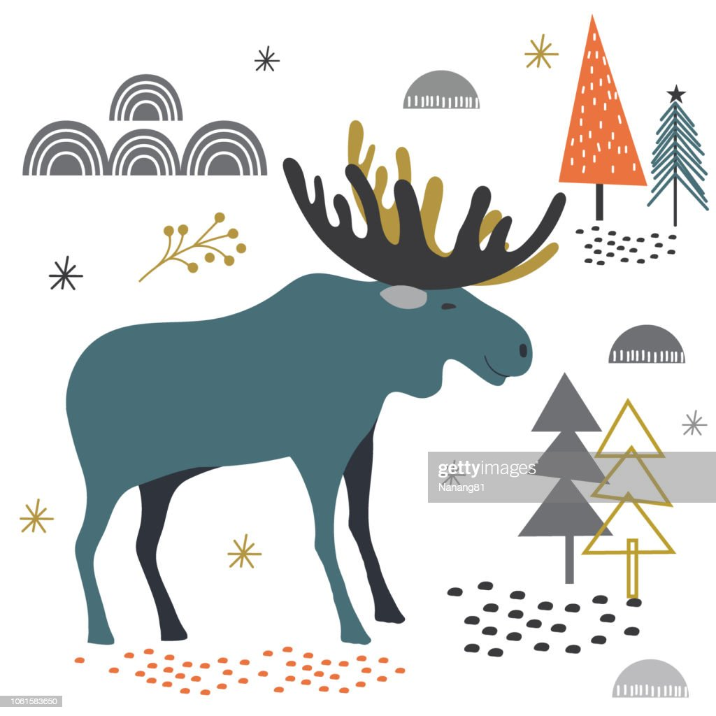 Cute moose in fores design, Christmas greetings vector illustration