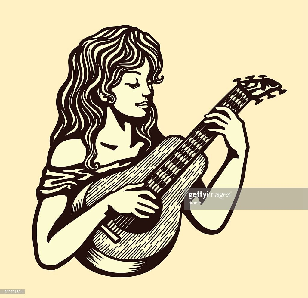 Cute naive girl playing guitar vector black and white illustration