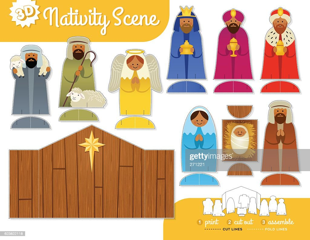 Cute Nativity Scene. Print, cut and assemble set with instructions