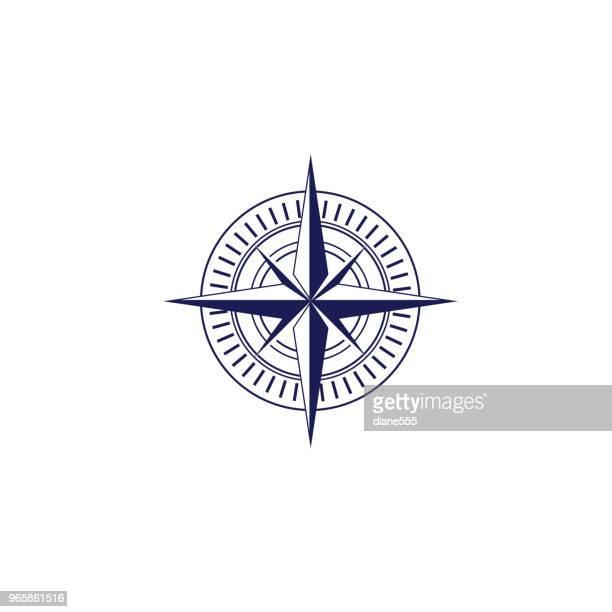 かわいい航海コンパス ローズのアイコン - 円形方位図点のイラスト素材/クリップアート素材/マンガ素材/アイコン素材