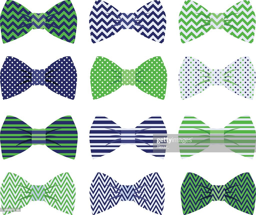 Cute Navy and Green Bow Tie Collection
