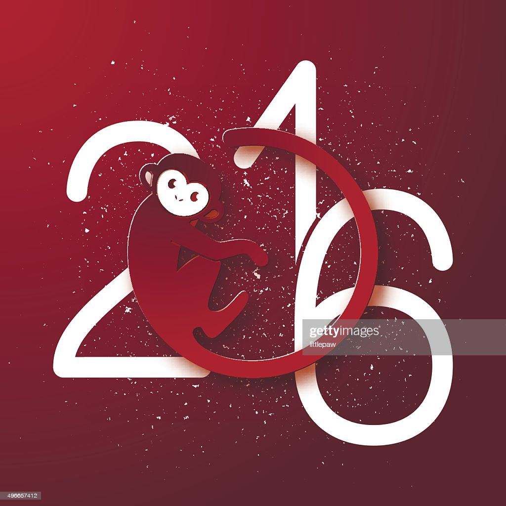 cute new year postcard with monkey symbol on red background vector art
