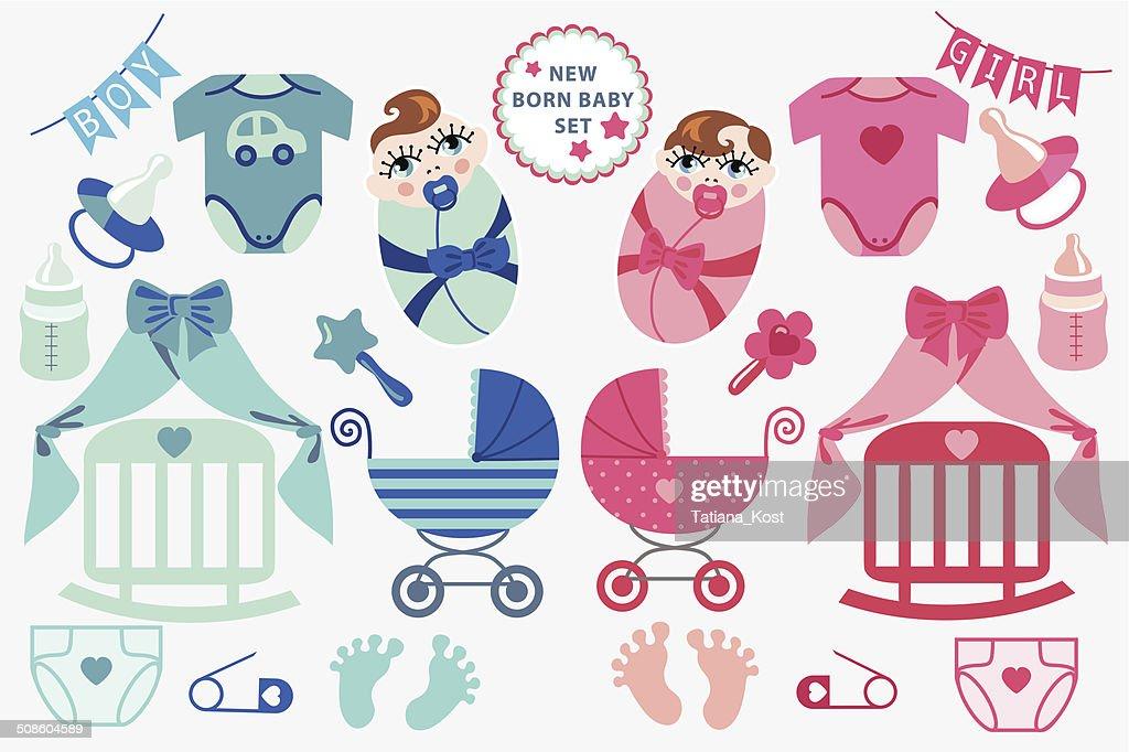 Cute newborn baby clipart.Twins set : Vector Art