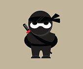 Cute Ninja Warrior Vector Character