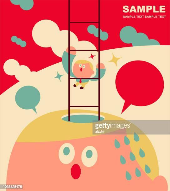 ilustraciones, imágenes clip art, dibujos animados e iconos de stock de trabajador de oficina lindo subiendo la escalera de cabeza grande - personas cabeza grande