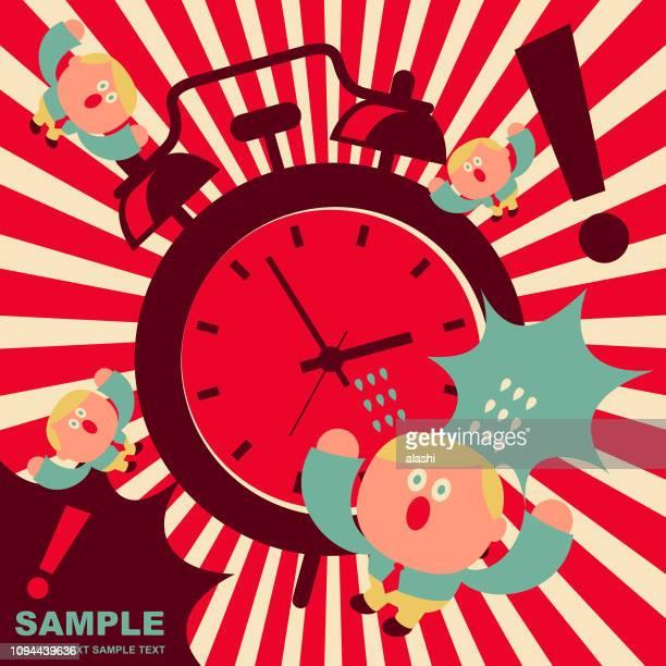 ilustrações de stock, clip art, desenhos animados e ícones de cute office worker getting shock by the noise of an huge alarm clock - acordar