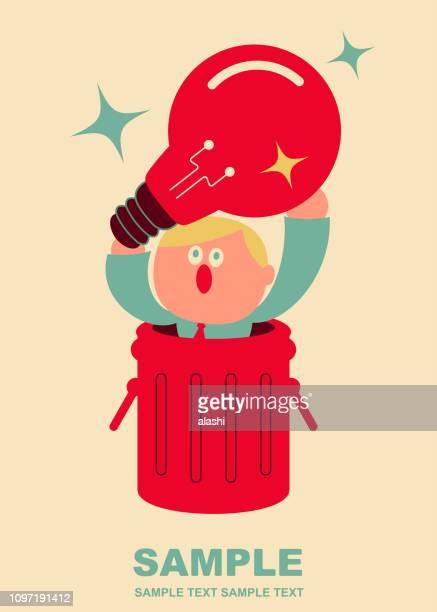 ゴミ箱の中のかわいい事務員が、アイデア電球 (ゴミ箱)