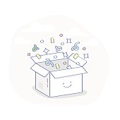 Cute open greeting box with confetti, concept of Surprise, Gift, Benefit, Offer or Presentation - Isolated Vector Illustration