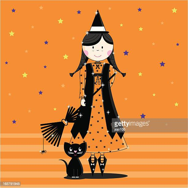 Cute Orange Halloween Witch Character with Black Cat