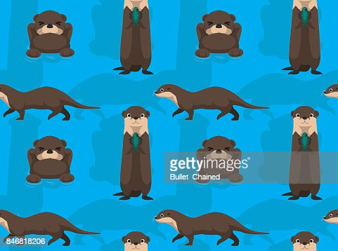 Cute Otter Cartoon Seamless Wallpaper High Res Vector Graphic Getty Images