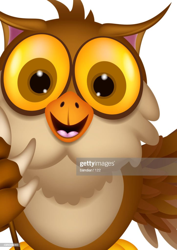 cute owl cartoon holding blank stick