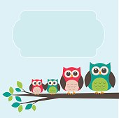 Cute owl family with place for text