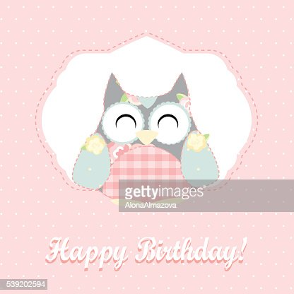 Cute Owl Happy Birthday Card Vector Art Getty Images
