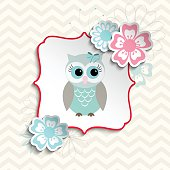 Cute owl in shabby chic style, illustration