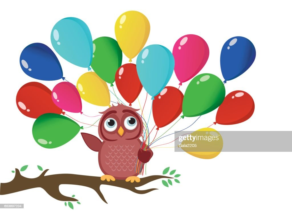 Cute owl sitting on a branch and holding many colorful balloons cute owl sitting on a branch and holding many colorful balloons greeting card or birthday stopboris Choice Image