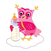 Cute Owlet With Milk Bottle. Welcome Baby Girl.