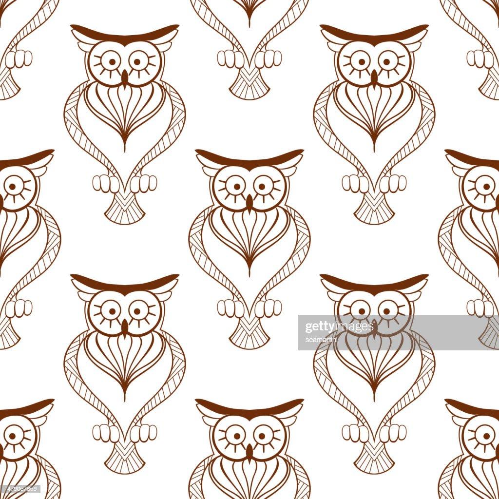 Cute owls retro seamless pattern