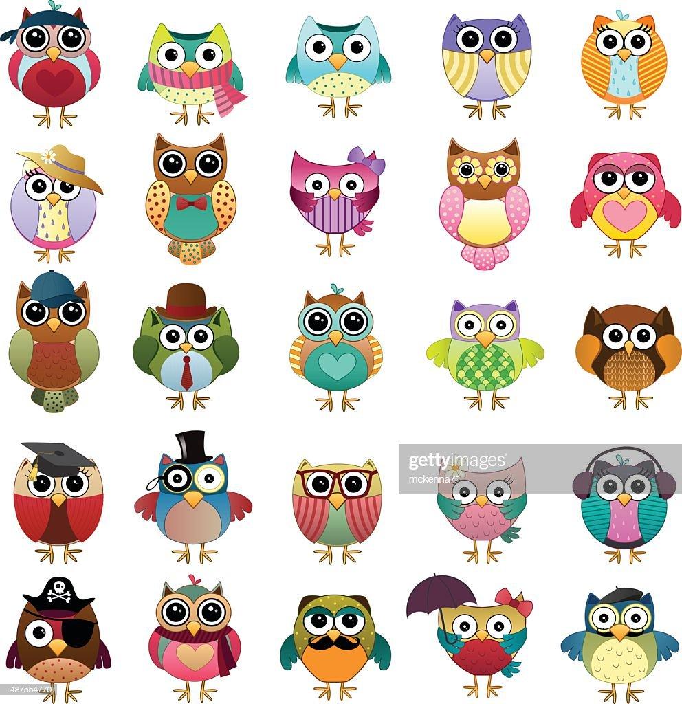 Cute Owls Vector Set