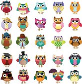 Cute Owls Vector Set