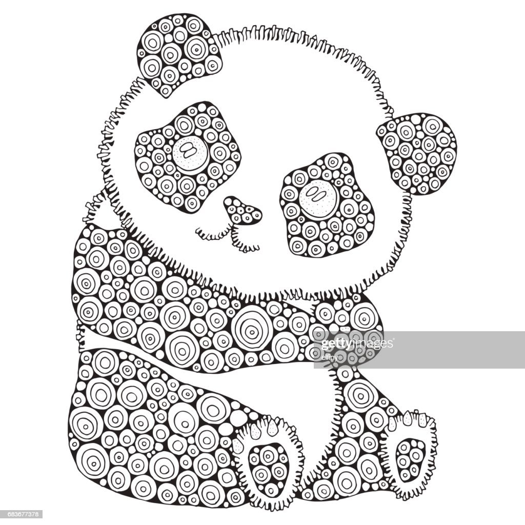 Cute panda. Adult antistress coloring book page. Black and white. Hand drawn, doodle design elements. - stock vector