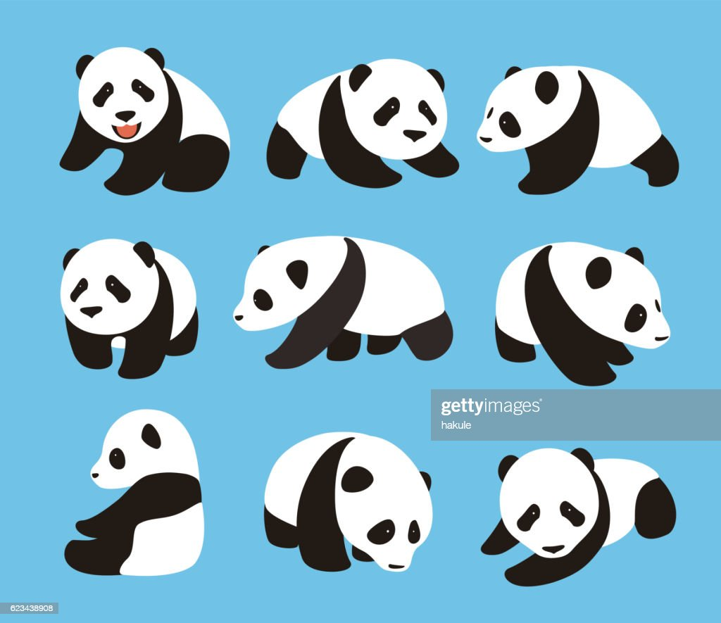Cute Panda Baby Set Flat Design Vector Illustrator Art