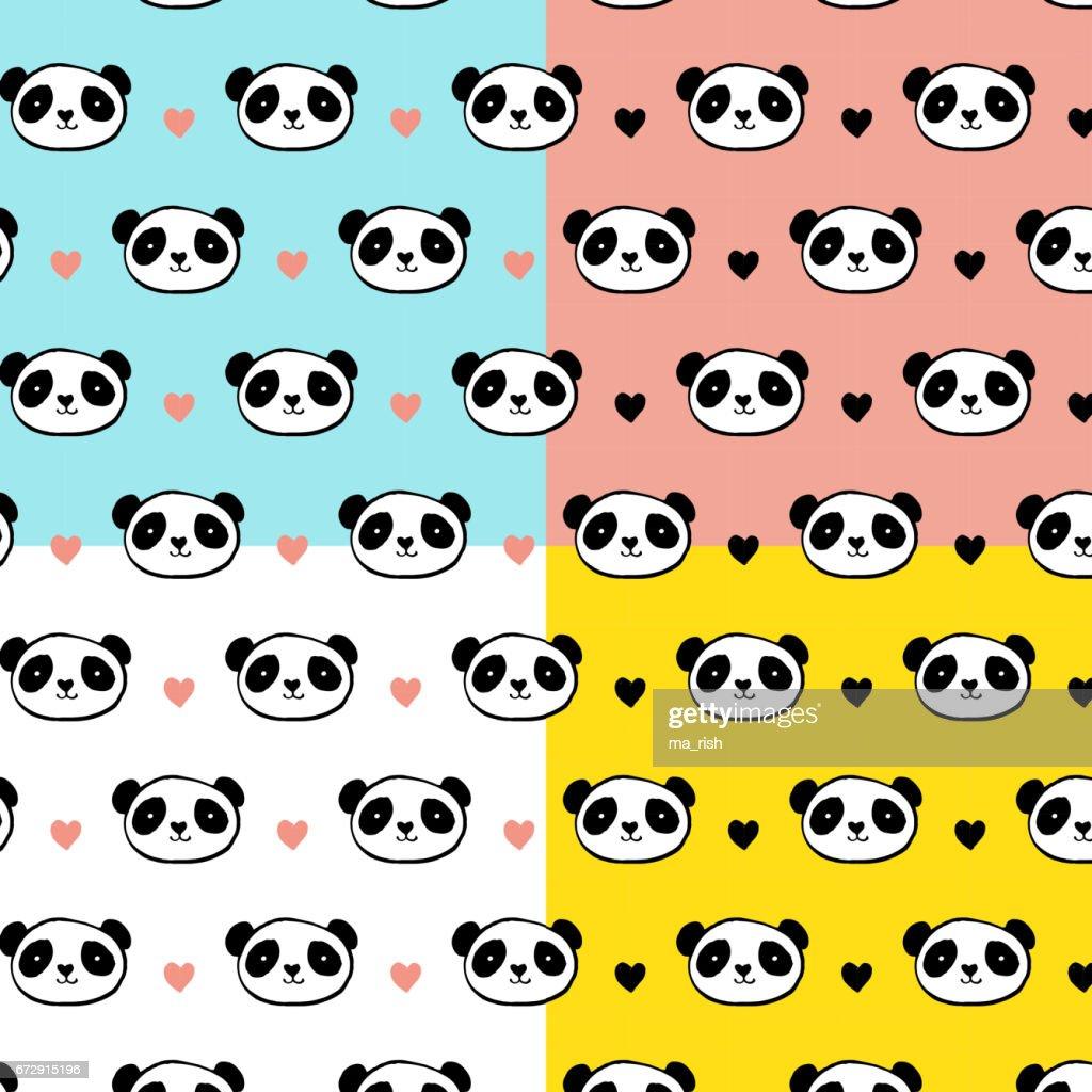 c18a533a228400 Niedlicher Panda Bär Musterdesigns Vektorgrafik - Getty Images