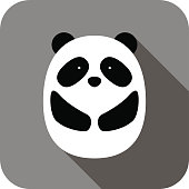 cute panda face and body flat design, vector