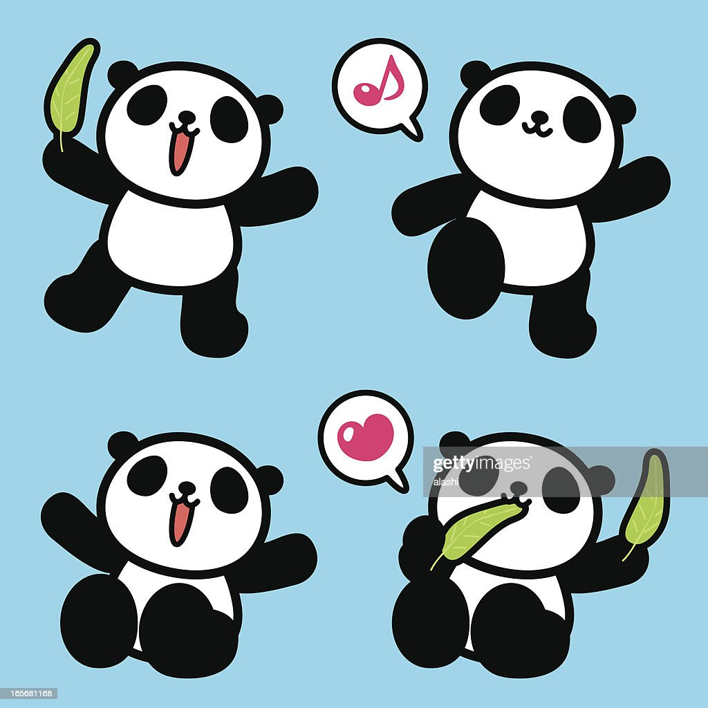 Cute Panda Greeting Walking Sitting Eating Vector Art