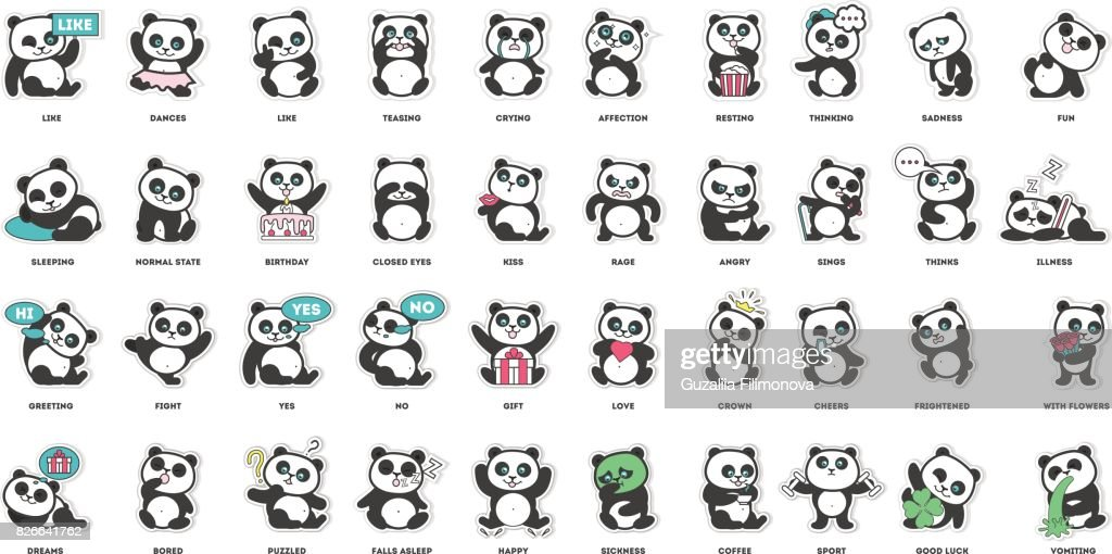 cute panda, stickers collection,