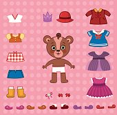 Cute paper doll bear