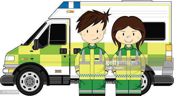 Cute Paramedics with Ambulance