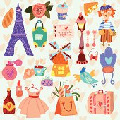 Cute Paris  Set with hand drawn elements