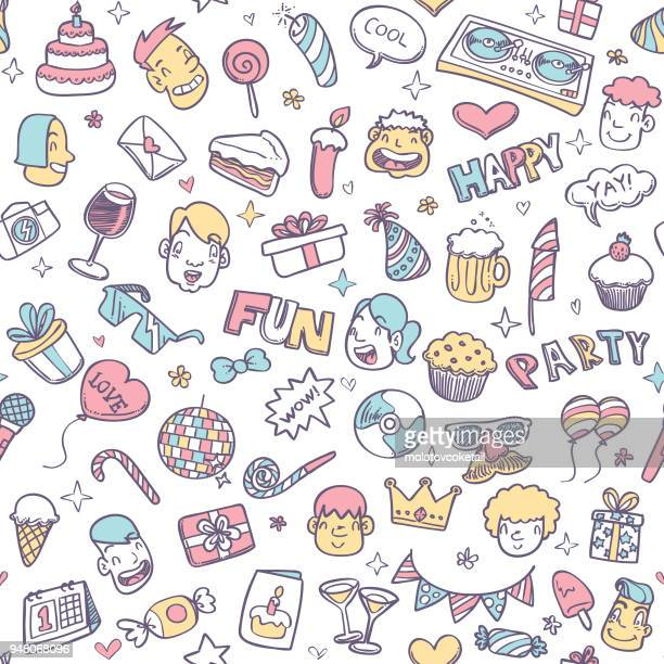 cute party doodle seamless pattern - fun stock illustrations