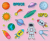 Cute patches set with space cosmonaut planets sun earth rockets spaceships moon ufo comet satellite and stars on pink background. Fashion stickers, cartoon 80s-90s style.