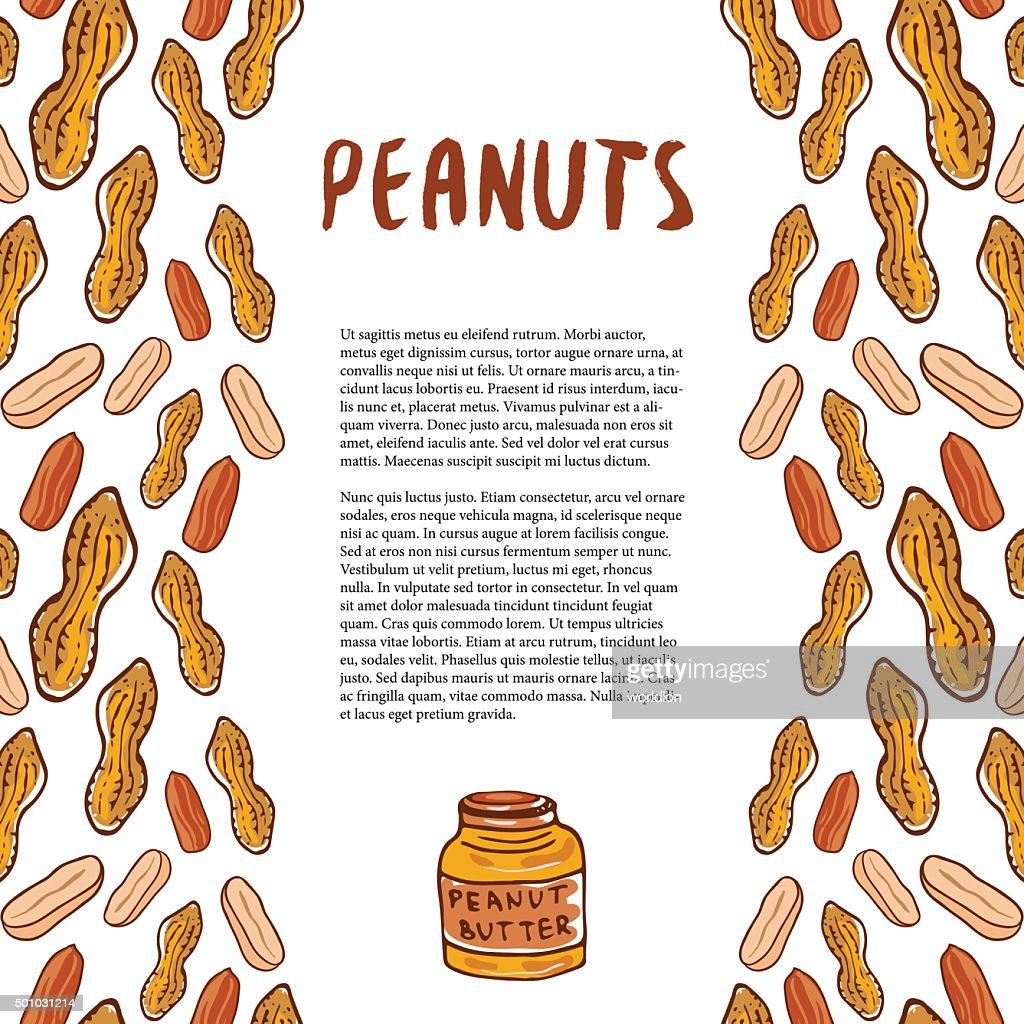 Cute peanuts template. Sketched nuts hand drawn vector background