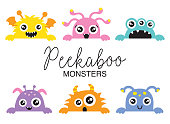 Cute Peekaboo Monsters Vector Illustration