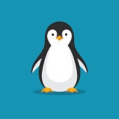Cute penguin icon in flat style.