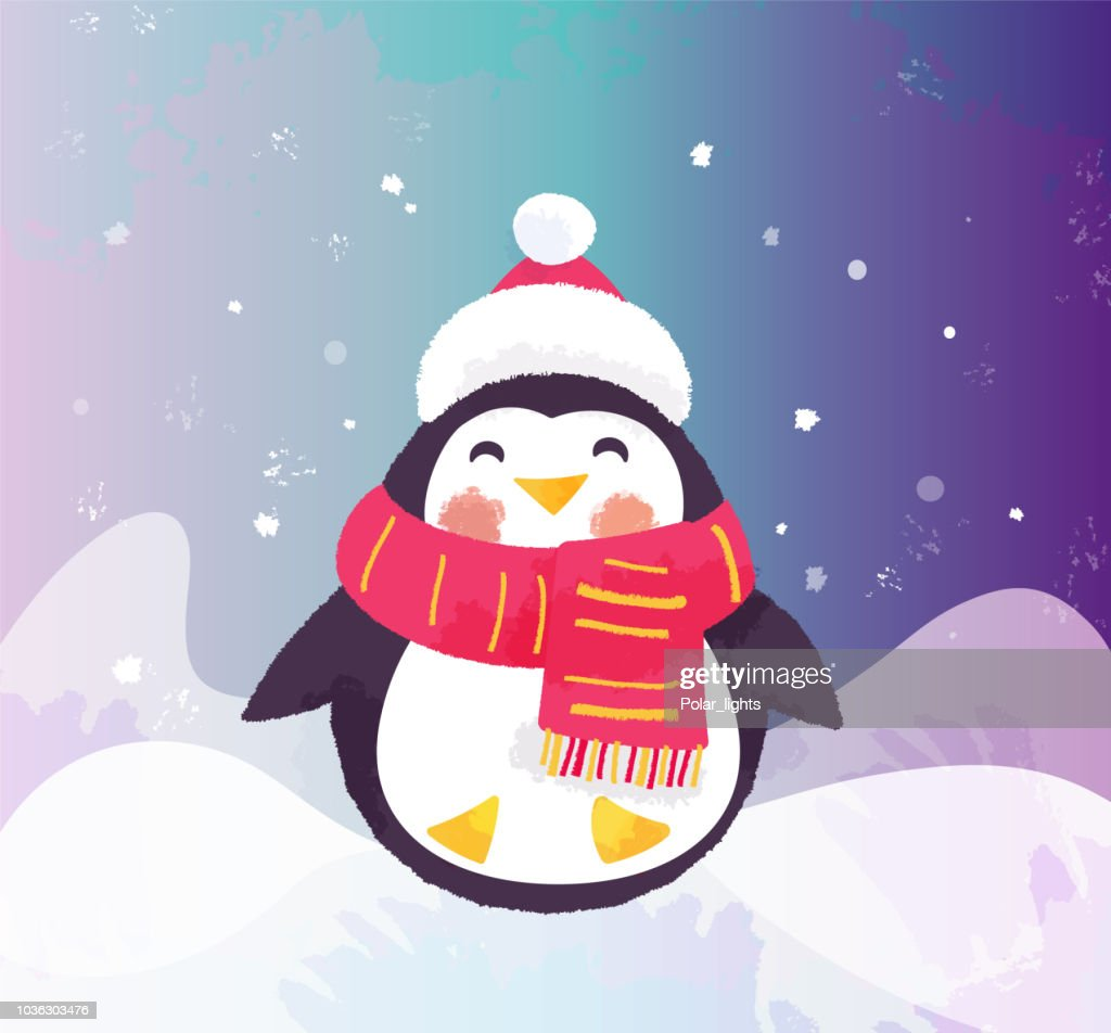 Cute penguin in hat and scarf. Winter illustration