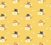 Cute pets seamless pattern. Cats and dogs in cardboard boxes